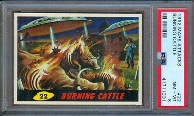 1962 Mars Attacks #22 Burning Cattle Psa 8++ Very Nice!