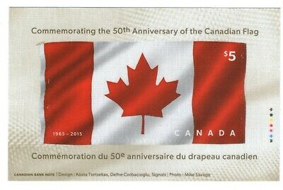 Stamps Canada # 2808,Canadian Flag 50th anniversary fabric souvenir sheet.