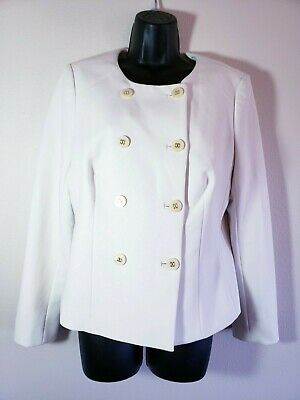 The Limited Blazer L Winter White Scandal Collection Collarless Womens NEW y