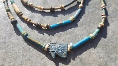 Ancient EGYPTIAN Lapis-Lazuli Eye Of HORUS Amulet, Mummy Bead Necklace, 700 BC