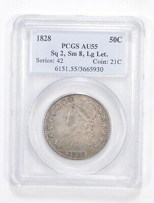 AU55 1828 Capped Bust Half Dollar - Square 2 Small 8 Large Letters - PCGS *5563