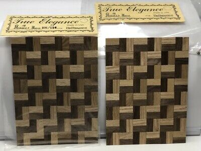 2 Two Vintage/New/Estate 1/12 Wood Parquet Flooring Sheets Handley House Hh/154