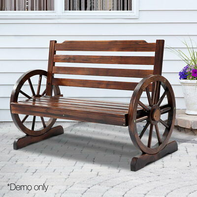 Rustic Look 2 Seater Bench Wooden Wheel Armrest Outdoor Patio Loveseat Chair NEW