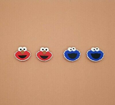 Elmo Cookie Monster Shoe Charms Crocs Wristband Shoe Lace Adapter Set of 4