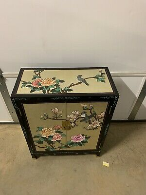 Large Asian Antique Hand Painted Gold Flake Cabinet