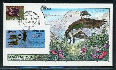 CANADA Wildlife Conservation Duck FDC: ALBERTA #3 Milford Hand Painted $$$