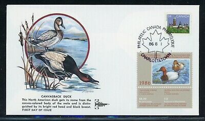 CANADA Wildlife Conservation Duck FDC: UNITRADE #FWH2 1986 $4 Gill Craft $$$