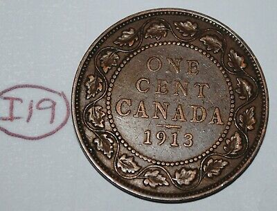 Canada 1913 1 Large cent Canadian one George V Penny coin Lot #I19