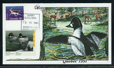 CANADA Wildlife Conservation Duck FDC: UNITRADE QUEBEC #QW4 DQ7 Milford Cachet $