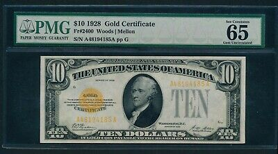 Fr. 2400 1928 $10 Gold Certificate PMG GEM UNCIRCULATED 65 EPQ