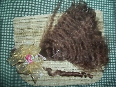 REBORN~OVER 1/2oz***JUST BROWN***~ SILKY SHINY CURLY~YEARLING~PREMIUM MOHAIR~