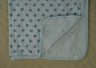 Old Navy Little Bundles Blue Elephant Baby Blanket Reversible White Stripes