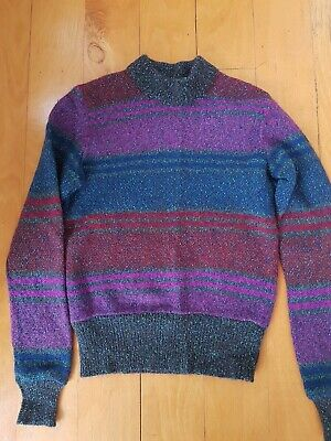 Vintage MISSONI MULTI COLORED STRIPED SWEATER JUMPER SZ S WOOL/MOHAIR