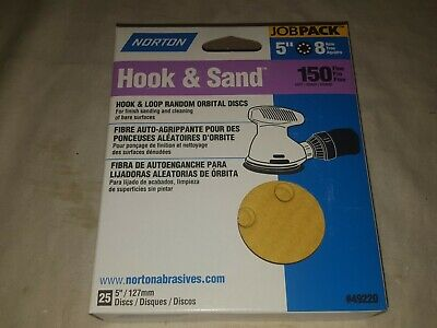 Norton 5 x 5 Hole 120 Grit Hook /& Sand 25 pack #49213