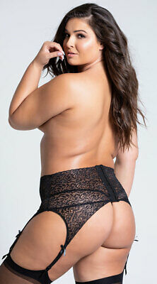 Plus Size Womens Plus Size Black Lace High Waisted Garter Belt