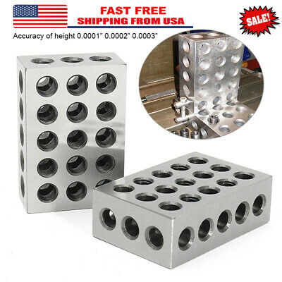 "2PCS 1-2-3 Blocks 23 Holes Matched Pair Ultra Precision .0002"" Machinist 123 Jig"