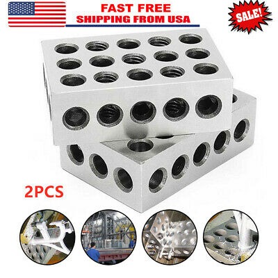 "2pcs Matched Pair Ultra Precision 1-2-3 Blocks 23 Holes .0001"" Machinist 123 Jig"