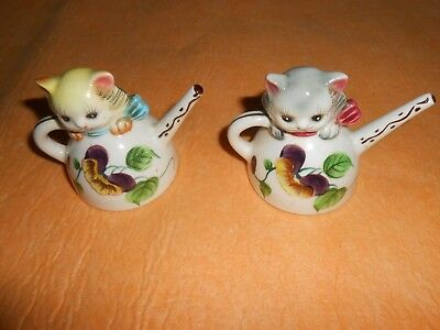 "Rare Vintage ""Py Japan"" Kittens Cats In Teapots Ceramic Salt & Pepper Shakers"