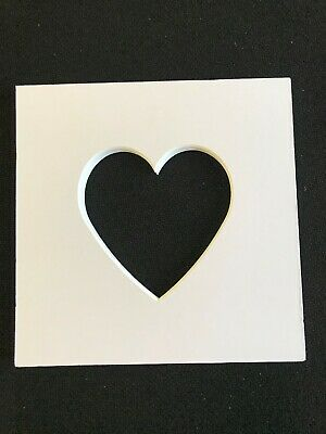 Heart Shaped Photo Iced White Mounts to Fit  IKEA Ribba Frame 23x23cm Pack of 5