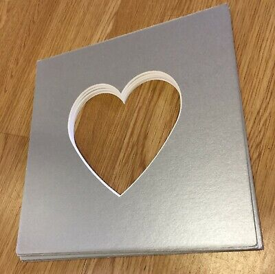 Heart Shaped Photo Silver Mounts to Fit IKEA Ribba Frame 23x23cm Pack of 5