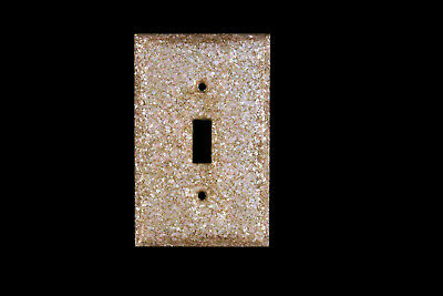 Vtg Lucite Mother of Pearl Light Switch Plate Cover Glitter Single Switch Pink