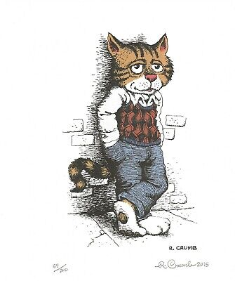 R. Crumb Fritz The Cat Signed And Numbered Art Print 2015 Imported From Italy