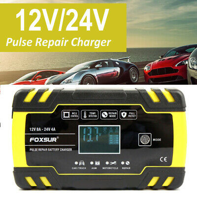 12V 24V 8A Automatic Car Pulse Repairing AGM GEL WET Lead Acid Battery Charger
