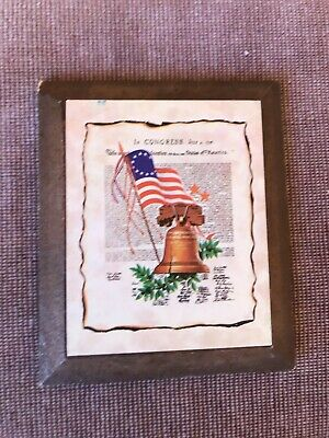 Small Congress, July 4, 1776, a declaration wood print VINTAGE 1970's 4x5 inch