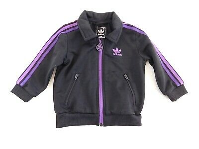 Adidas Jacket Size 12 Months Baby Girls Track Jacket Trefoil Black Purple Pink