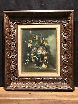 "Vintage Oil Floral Signed Eb Painting On Canvas 17.5"" Tall 15""wide"