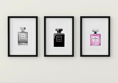 Set Of 3 Coco Chanel Perfume Bottle A4 Glossy Fashion Art Prints Gifts Pink Grey