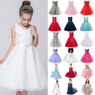 Girls Princess Dress Baby Flower Kids Party Lace Bow Bridesmaid Wedding Dresses