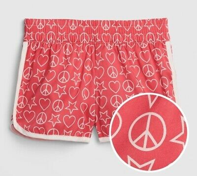 GAP KIDS Girls SHORTS Sz XL Pink PEACE LOVE Pull-On Attached Panty / NWT$19.95