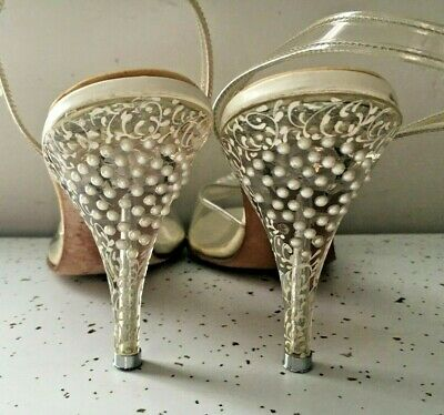 Vintage 1950s Styled by Connie Lucite Clear Hand Painted Heels 7N VLV WEDDING