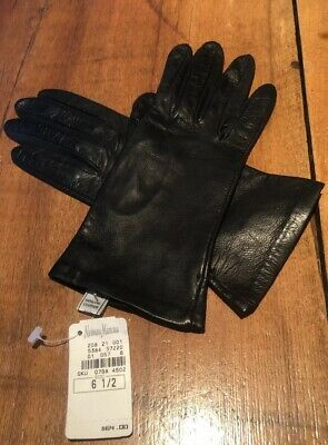 NWT NEIMAN MARCUS Black Leather Gloves SILK Lined SIZE 6.5 Italy