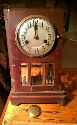 antique clock movement, Pendulum and case front. with glass. 12 & 1/2