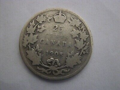Canadian 1905 25 Cent Coin 92.5 % Silver Twenty Five Cent CANADA COIN