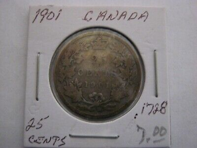 Canadian 1901 25 Cent Coin 92.5 % Silver Twenty Five Cent CANADA COIN