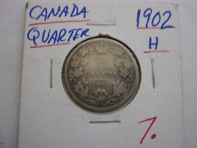 Canadian 1902 H 25 Cent Coin 92.5 % Silver Twenty Five Cent CANADA COIN