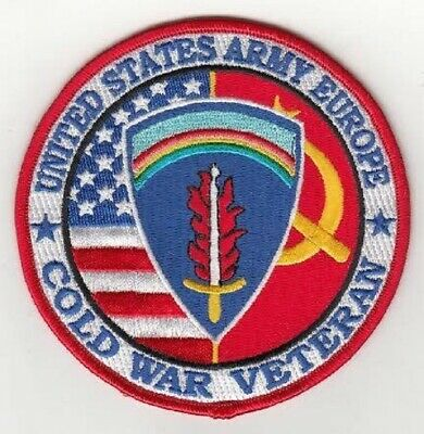 """COLD WAR VETERAN - US ARMY EUROPE (USAEUR)  embroidered  patch 4"""" round"""