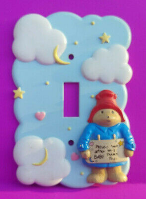 "Paddington Bear Single Light Switch Wall Plate Cover ""Please Look After Baby"""