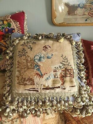 Stunning antique Georgian  needlepoint cushion/pillow with vintage silk trimming