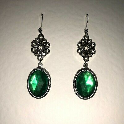 Lacy Filigree Victorian Style New Emerald Green Dark Silver Plated Earrings