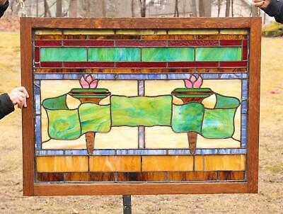 Large Antique Architectural Stained Glass Window, Arts & Crafts Torches & Banner