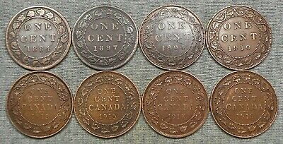 Lot Of 8 Canada Large Cents - 1884, 1897, 1904, Etc.