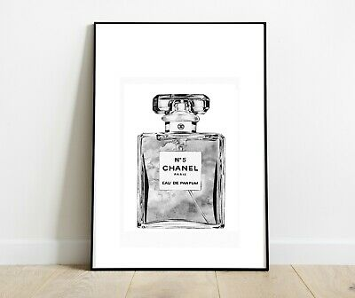 CHANEL BOTTLE PRINT GREY CHARCOAL ART DRESSING ROOM PRINTS A4 A3 - Home Gifts