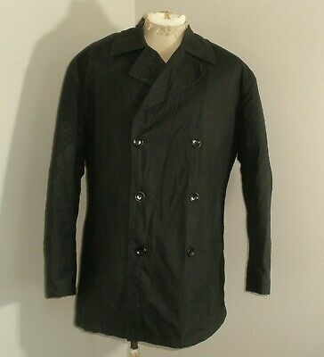 Mens POLO Ralph Lauren WOOL Lined Waxed Cotton Oilskin Peacoat Jacket Coat Large