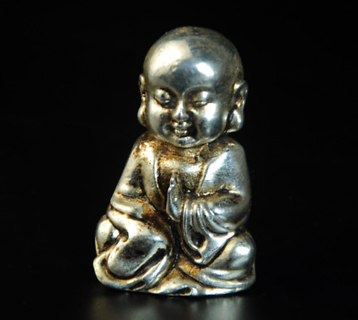 Collectable China Old Miao Silver Hand-Carved Maitreya Buddha Statue /Aa01
