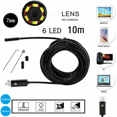 10M 6LED USB Endoscope Borescope Inspection Camera for Android&PC