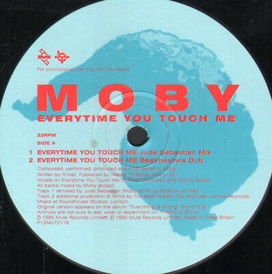 "MOBY Everytime You Touch Me 12"" VINYL 4 Track Promo In Generic Sleeve (P12MUTE"